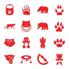 Set of 16 bear filled icons