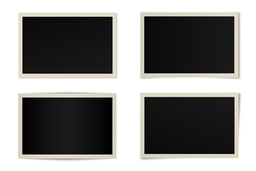 Vector set of curved photo frames with various shadows. Mock up of frames