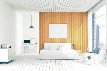 3D rendering : illustration of big spacious bedroom in soft light color. bed in elegant classic modern bedroom.interior design of house.modern wooden tile house, filtered image to comic halftone style