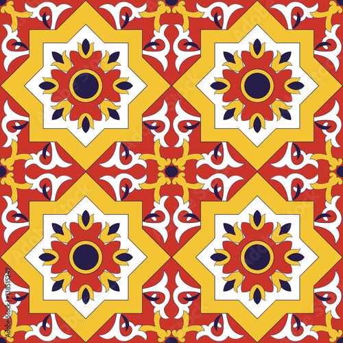 Spanish tile pattern vector seamless with flowers motifs azulejo spanish tile pattern vector seamless with flowers motifs azulejo portuguese tiles mexican talavera or voltagebd Gallery