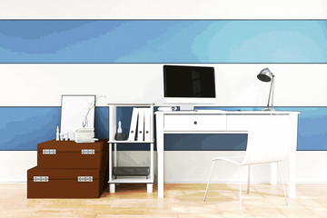 3D Rendering : illustration of modern Creative designer office desk with PC computer.close up pc laptops mock up working place. Mock up. light from outside. filtered image to comic halftone