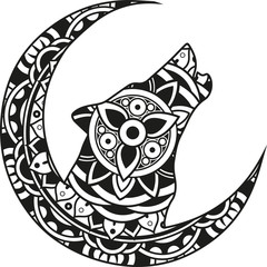 Vector illustration of a mandala moon and wolf silhouette
