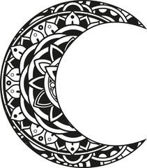 Vector illustration of a mandala moon silhouette