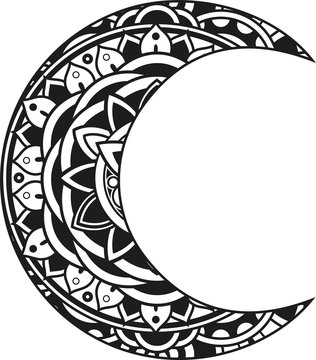 Vector illustration of a mandala moon silhouette