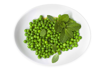 Peas with Mint Top View Isolated
