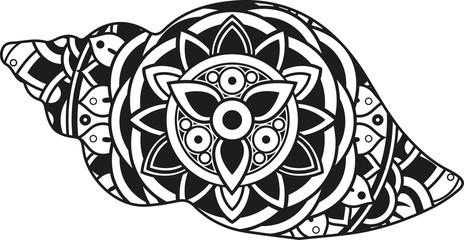 Vector illustration of a mandala sea shell silhouette