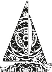 Vector illustration of a mandala sail boat silhouette