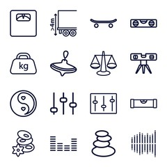 Set of 16 balance outline icons