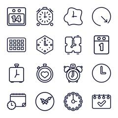Set of 16 deadline outline icons