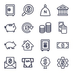 Set of 16 banking outline icons