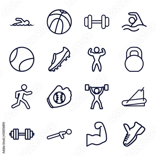 Set of 16 athletic outline icons