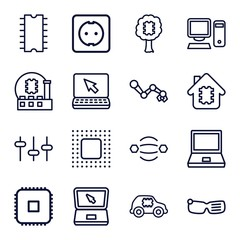 Set of 16 tech outline icons