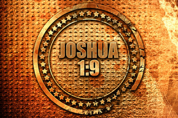 joshua 1 9, 3D rendering, metal text