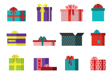 Gift box anniversary event satin greeting object with ribbon and bow isolated valentine paper package festive party shopping wrap vector illustration.