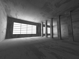 Concrete architecture background. Abstract empty dark room
