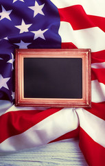 Small blackboard on USA national flag background