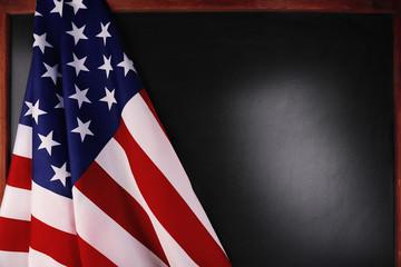 American national flag on blackboard background
