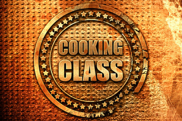 cooking class, 3D rendering, metal text