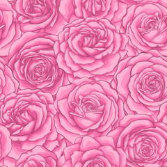 beautiful vintage seamless pattern with pink roses.