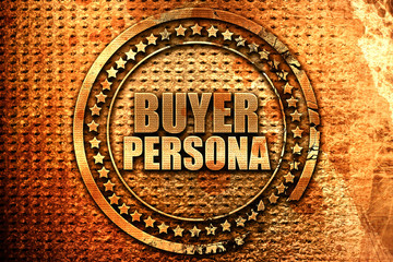 buyer persona, 3D rendering, metal text