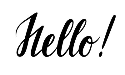 hello. Hand drawn calligraphy and brush pen lettering.