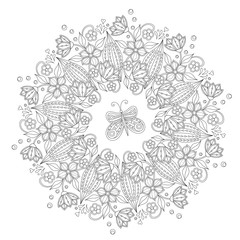 Coloring page with vintage flowers. Black and white. Handrawn ound ornament.