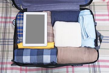 Opened traveler case, closeup
