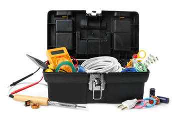 Box with tools on white background