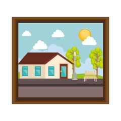 cute picture with landscape vector illustration design