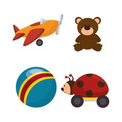set kids toys icons vector illustration design