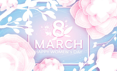 8 March Happy Women`s Day in square - spring vector background with Paper cut flower. Handdrawn Floral template, Greeting card. Holiday, Origami design, Trendy backdrop for Womens and Mother's Day