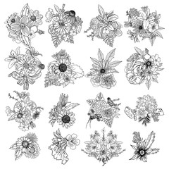 Set of 4 vintage Bouquet of different hand drawn flowers. Vintage black white and isolated, can be used as invitation, greeting card, print,adult colouring book.
