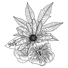 Flowers. Bouquet of different hand drawn flowers. Vintage black white and isolated, can be used as invitation, greeting card, print Vector.
