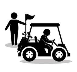golf sport cart emblem icon vector illustration design