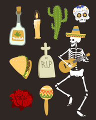 Colorful symbols for dia de los muertos day of the dead vector.