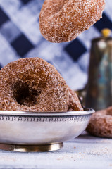 Donuts with sugar and cinnamon