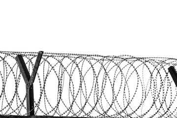 Barbed wire fencing around a prison