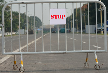 Road is closed by fence