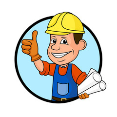 Icon cheerful worker