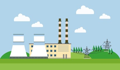 Power plant in a forest and hills. Electric wires. Vector illustration.