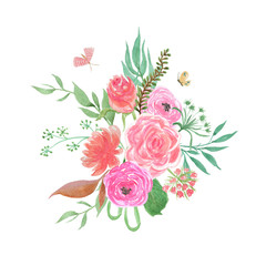 Colorful floral collection with leaves and england rose flowers, drawing watercolor. Design for invitation, wedding or greeting cards