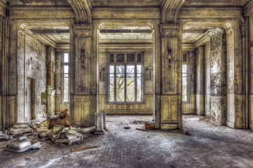 Empty majestic room in an abandoned palace