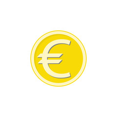 Gold euro coin flat icon, finance and business, euro sign vector graphics, a colorful solid pattern on a white background, eps 10.