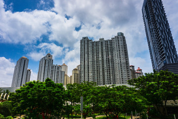 High rise building like a skycraper surrounding with green trees and beautiful clear sky as background photo taken in Jakarta Indonesia