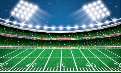 American Football Stadium. Arena. Vector Illustration.