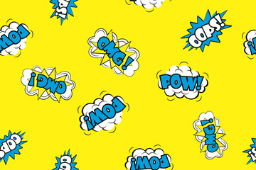 Seamless pattern - Wow,oops,omg Comic sound effects in pop art style