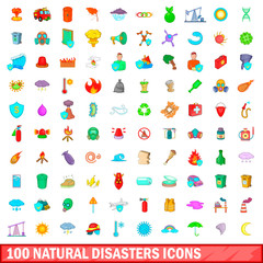 100 natural disasters icons set, cartoon style