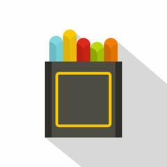 Crayons icon, flat style
