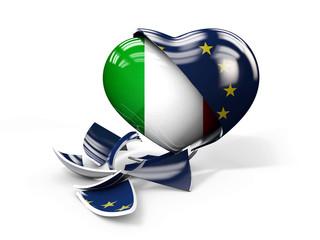 3d Illustration of Italy ITexit, European Union broken