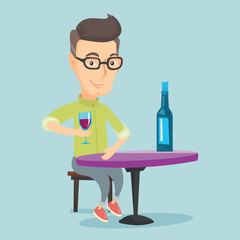 Man drinking wine at restaurant.